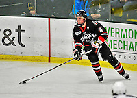 28 January 2012: Northeastern University Huskies' defenseman Dan Cornell, a Freshman from Abington, MA, in action against the University of Vermont Catamounts at Gutterson Fieldhouse in Burlington, Vermont. The Huskies defeated the Catamounts 4-2 in the second game of their 2-game Hockey East weekend series. Mandatory Credit: Ed Wolfstein Photo