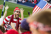 An American Outlaw leads cheers of fans of the United States Men's National Team while the United States played Guatemala at Livestrong Sporting Park in Kansas City, Kansas in a World Cup Qualifier on Tue. Oct. 16, 2012.