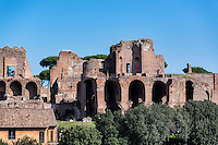 Ancient architectural ruins of Palatine Hill which was the origin of Rome, Italy