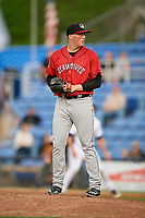 Erie SeaWolves Kyle Funkhouser (36) on the mound during a game against the Binghamton Rumble Ponies on May 14, 2018 at NYSEG Stadium in Binghamton, New York.  Binghamton defeated Erie 6-5.  (Mike Janes/Four Seam Images)