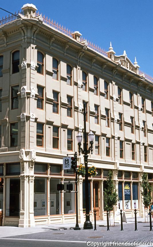 Portland: Willamette Block, Yamhill Historic District. NE corner of Yamhill & First. Restored, fiber glass replacement cast iron.