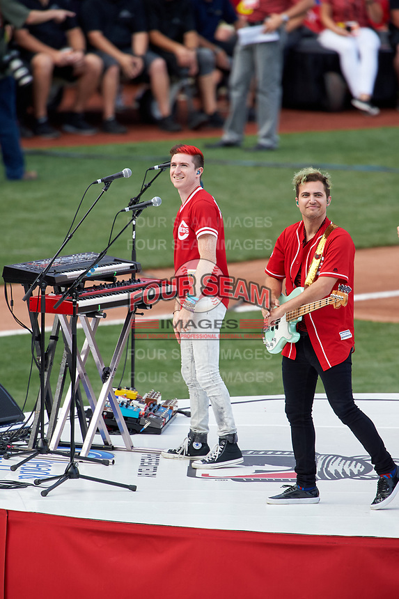 Cincinnati, Ohio based Walk the Moon - Nicholas Petricca (left) and Kevin Ray (right) - perform before the MLB Home Run Derby on July 13, 2015 at Great American Ball Park in Cincinnati, Ohio.  (Mike Janes/Four Seam Images)