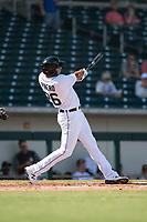 Mesa Solar Sox first baseman Daniel Pinero (26), of the Detroit Tigers organization, follows through on his swing during an Arizona Fall League game against the Peoria Javelinas at Sloan Park on October 11, 2018 in Mesa, Arizona. Mesa defeated Peoria 10-9. (Zachary Lucy/Four Seam Images)