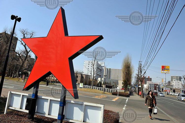 The distinctive red star logo at the entrance of the Sapporo Brewery and Museum. /Felix Features