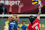 Wing spiker Sarina Koga (L) of Japan blocks during the FIVB Volleyball World Grand Prix - Hong Kong 2017 match between Japan and Russia on 23 July 2017, in Hong Kong, China. Photo by Yu Chun Christopher Wong / Power Sport Images