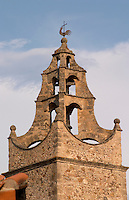 Stone church tower. Caramany, Ariege, Roussillon, France