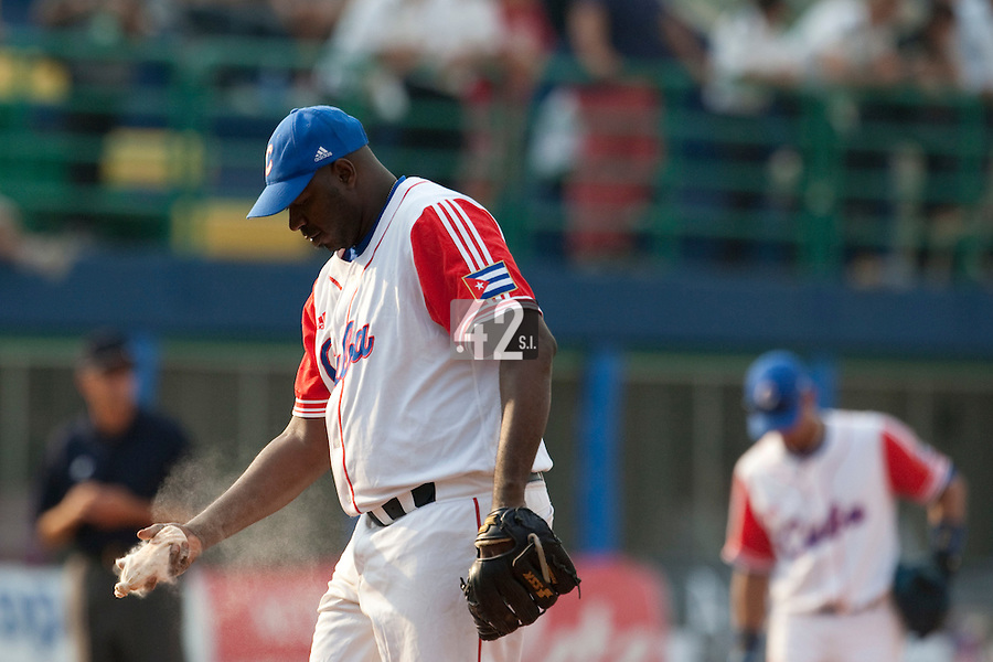 27 September 2009: Pedro Lazo of Cuba is seen on the mound during the 2009 Baseball World Cup gold medal game won 10-5 by Team USA over Cuba, in Nettuno, Italy.