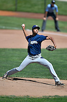 Helena Brewers starting pitcher Michael Petersen (27) delivers a pitch to the plate against the Ogden Raptors in Pioneer League action at Lindquist Field on July 16, 2016 in Ogden, Utah. Ogden defeated Helena 5-4. (Stephen Smith/Four Seam Images)