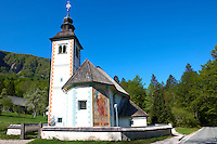 Traditional painted church. Lake Bohinj [ Bohinjsko jezero ] Slovenia.