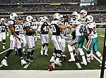 Dallas Cowboys inside linebacker Sean Lee (50) and Miami Dolphins wide receiver Brian Hartline (82) in action during the Thanksgiving Day game between the Miami Dolphins and the Dallas Cowboys at the Cowboys Stadium in Arlington, Texas. Dallas defeats Miami 20 to 19...