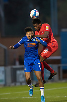Tunji Akinola, Leyton Orient out jumps Courtney Senior, Colchester United during Colchester United vs Leyton Orient, Sky Bet EFL League 2 Football at the JobServe Community Stadium on 14th November 2020