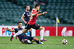 Muangthong United Forward Cleiton Silva (r) during an attack of Muang Thong during the 2017 Lunar New Year Cup match between SC Kitchee (HKG) vs Muangthong United (THA) on January 28, 2017 in Hong Kong, Hong Kong. Photo by Marcio Rodrigo Machado/Power Sport Images