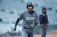 Jackson Mims (27) of the Charlotte 49ers hustles towards home plate against the Wake Forest Demon Deacons at BB&T BallPark on March 13, 2018 in Charlotte, North Carolina.  The 49ers defeated the Demon Deacons 13-1.  (Brian Westerholt/Four Seam Images)