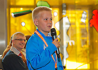 April 17, 2015, Netherlands, Den Bosch, Cityhall, Fedcup Netherlands-Australia,  draw, Schoolkid asking question during draw<br /> Photo: Tennisimages/Henk Koster