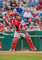 15 August 2017: Los Angeles Angels catcher Martin Maldonado in action against the Washington Nationals at Nationals Park in Washington, DC. The Nationals defeated the Angels 3-1 in the first game of their 2-game series. Mandatory Credit: Ed Wolfstein Photo *** RAW (NEF) Image File Available ***
