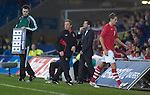 Wales football caretaker Manager Brian Flynn as David Edwards leaves the field during the Euro 2010 qualifying match between Wales and Bulgaria at Cardiff City Stadium..