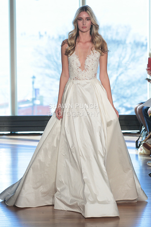 "Model Heather walks runway in a ""Stevie"" bridal gown from the Rivini Spring Summer 2017 bridal collection by Rita Vinieris at The Standard Highline Room, during New York Bridal Fashion Week on April 15, 2016."