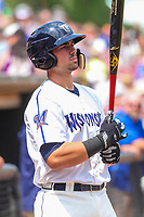 Wisconsin Timber Rattlers catcher Payton Henry (15) waits on deck during a Midwest League game against the Bowling Green Hot Rods on July 22, 2018 at Fox Cities Stadium in Appleton, Wisconsin. Bowling Green defeated Wisconsin 10-5. (Brad Krause/Four Seam Images)