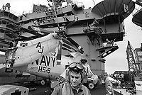 - The Roosevelt aircraft carrier in navigation in the Mediterranean Sea (April 1989)<br />