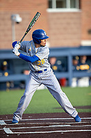 San Jose State Spartans shortstop Santiago Cantu (28) at bat against the Michigan Wolverines on March 27, 2019 in Game 2 of the NCAA baseball doubleheader at Ray Fisher Stadium in Ann Arbor, Michigan. Michigan defeated San Jose State 3-0. (Andrew Woolley/Four Seam Images)