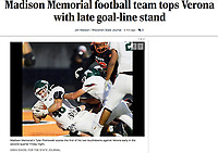 Madison Memorial's Tyler Piotrowski scores a touchdown with 9:55 to go in the second quarter, as Madison Memorial takes on Verona in WIAA Wisconsin boys high school football on Friday, Sep. 3, 2021 at Verona High School | Wisconsin State Journal article Sports page B1 and online at https://madison.com/wsj/sports/high-school/football/madison-memorial-football-team-tops-verona-with-late-goal-line-stand/article_63b6e88d-8de3-5ab0-a85b-819ff461ff2c.html