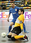 Ugra Yugorsk's Vladislav Shayakhmetov (l) and Zviad Kupatadze during UEFA Futsal Cup 2015/2016 Semifinal match. April 22,2016. (ALTERPHOTOS/Acero)