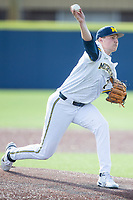 Michigan Wolverines pitcher Blake Beers (29) delivers a pitch to the plate against the Michigan State Spartans on March 22, 2021 in NCAA baseball action at Ray Fisher Stadium in Ann Arbor, Michigan. Michigan State beat the Wolverines 3-0. (Andrew Woolley/Four Seam Images)