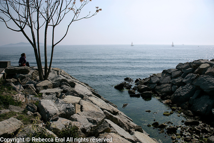 Sea of Marmara from Suadiye on the Asian side of Istanbul, Turkey