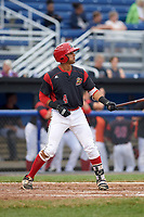 Batavia Muckdogs third baseman J.C. Millan (4) at bat during a game against the Lowell Spinners on July 12, 2017 at Dwyer Stadium in Batavia, New York.  Batavia defeated Lowell 7-2.  (Mike Janes/Four Seam Images)