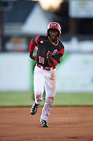 Batavia Muckdogs left fielder Isaiah White (18) running the bases during a game against the West Virginia Black Bears on June 29, 2016 at Dwyer Stadium in Batavia, New York.  West Virginia defeated Batavia 9-4.  (Mike Janes/Four Seam Images)
