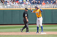 UC Santa Barbara Gauchos second baseman JJ Muno (9) celebrates at second base against the Miami Hurricanes in Game 5 of the NCAA College World Series on June 20, 2016 at TD Ameritrade Park in Omaha, Nebraska. UC Santa Barbara defeated Miami  5-3. (Andrew Woolley/Four Seam Images)