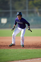 Kevin Ortiz (57), from Grayson, Georgia, while playing for the Rockies during the Baseball Factory Pirate City Christmas Camp & Tournament on December 30, 2017 at Pirate City in Bradenton, Florida.  (Mike Janes/Four Seam Images)