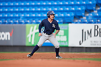 Charlotte Stone Crabs left fielder Robbie Tenerowicz (1) leads off first base during the first game of a doubleheader against the St. Lucie Mets on April 24, 2018 at First Data Field in Port St. Lucie, Florida.  St. Lucie defeated Charlotte 5-3.  (Mike Janes/Four Seam Images)