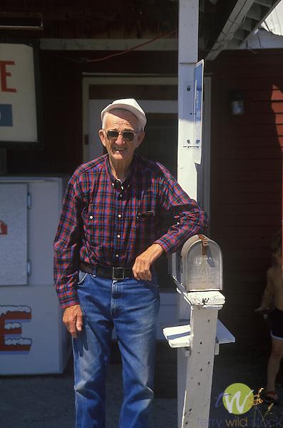 Mr. Gartley outside Gartley's Store, Beaver Cove, Maine