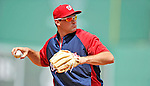 9 June 2012: Washington Nationals third baseman Ryan Zimmerman warms up with infield drills prior to a game against the Boston Red Sox at Fenway Park in Boston, MA. The Nationals defeated the Red Sox 4-2 in the second game of their 3-game series. Mandatory Credit: Ed Wolfstein Photo