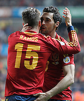 Spain's Sergio Ramos (l) and Alvaro Arbeloa celebrate goal during international match of the qualifiers for the FIFA World Cup Brazil 2014.March 22,2013.(ALTERPHOTOS/Acero)