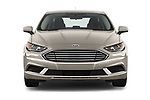 Car photography straight front view of a 2018 Ford Fusion Hybrid SE 4 Door Sedan