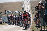 6th September 2021; Sherford to Exeter, Devon, England:  The AJ Bell Tour Of Britain, Stage 2 Sherford to Exeter. The peloton passes through Dartmoor. Silvan Dillier leading the way.