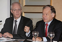 Montreal (QC) CANADA, January 18, 2008 - Jacques St-Laurent, President, Bell Helicopter Textron Canada Limited (L) and<br /> <br /> Raymond Bachand, minister of economic development of innovation and export trade in the cabinet of Premier of Quebec Jean Charest (R) take part in <br /> Perspective 2008, organized by the Jeune Chambre de Commerce de Montreal.<br /> <br /> photo : (c) ®Pierre Roussel -  images Distribution