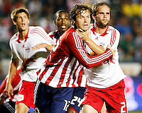 Chivas USA midfielder, Carey Talley(12) and NY Red Bulls defender, Kevin Goldthwaite(2) fight for position in the goal box during a corner kick. Chivas USA  took on the NY Red Bulls on June 28, 2008 at the Home Depot Center in Carson, CA. The game ended in a 1-1 tie.