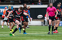 Ed Chamberlain (on loan from Salford) of London Broncos kicks the penalty during the Betfred Challenge Cup match between London Broncos and York City Knights at The Rock, Rosslyn Park, London, England on 28 March 2021. Photo by Liam McAvoy.