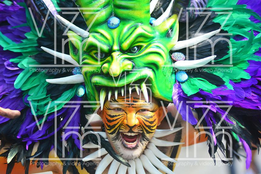 BARRANQUILLA - COLOMBIA, 02-03-2019: Un artista luce un disfraz tradicional durante el desfile Batalla de Flores del Carnaval de Barranquilla 2019, patrimonio inmaterial de la humanidad, que se lleva a cabo entre el 2 y el 5 de marzo de 2019 en la ciudad de Barranquilla. / An artist with a traditional custom performs during the Batalla de las Flores as part of the Barranquilla Carnival 2019, intangible heritage of mankind, that be held between March 2 to 5, 2019, at Barranquilla city. Photo: VizzorImage / Alfonso Cervantes / Cont.