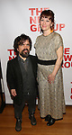 """Peter Dinklage and Erica Schmidt, pregnant, attends the Opening Night of The New Group World Premiere of """"All The Fine Boys"""" at the The Green Fig Urban Eatery on March 1, 2017 in New York City."""