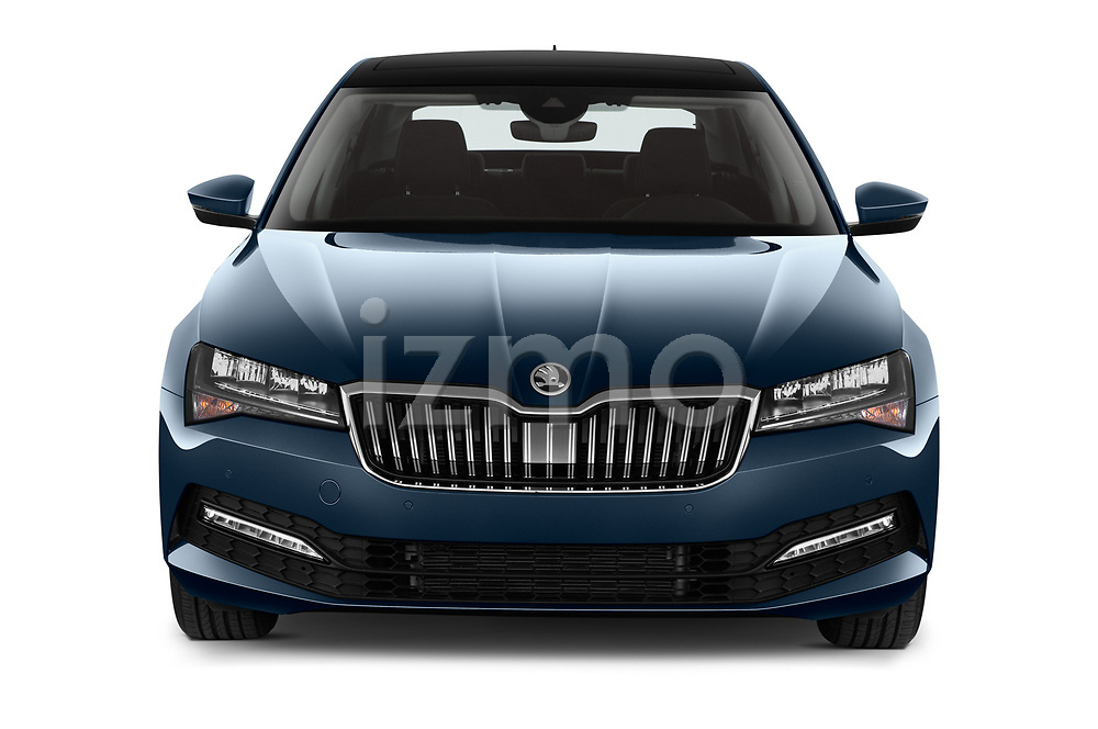 Car photography straight front view of a 2020 Skoda Superb Ambition 5 Door Hatchback