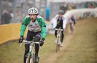 Alexander 'Moustache' Revell (NZL) doing the recon<br /> <br /> UCI Worldcup Heusden-Zolder Limburg 2013