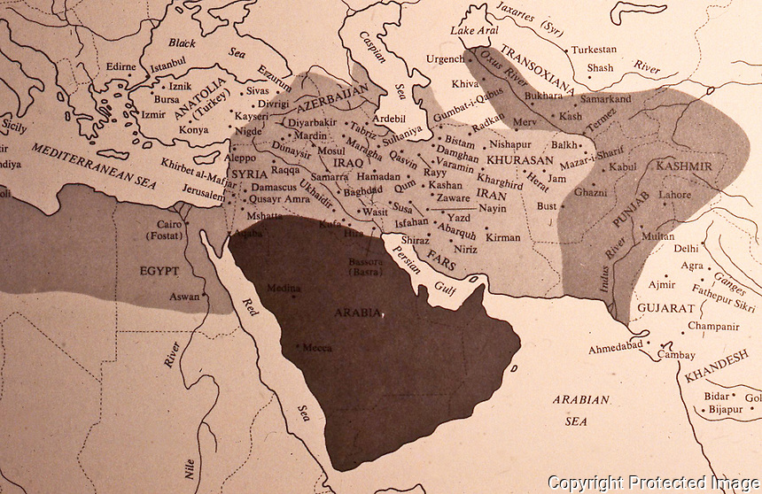 Islamic World: Map-- Heart of Islam, portion of expansion map . From Umberto Scerrato, ISLAM: MONUMENTS OF CIVILIZATION, 1972.