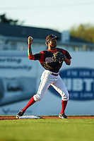 Batavia Muckdogs shortstop Anfernee Seymour (3) throws to first during a game against the Lowell Spinners on August 12, 2015 at Dwyer Stadium in Batavia, New York.  Batavia defeated Lowell 6-4.  (Mike Janes/Four Seam Images)