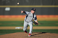 Richmond Spiders relief pitcher Michael Strait (7) in action against the Wake Forest Demon Deacons at David F. Couch Ballpark on March 6, 2016 in Winston-Salem, North Carolina.  The Demon Deacons defeated the Spiders 17-4.  (Brian Westerholt/Four Seam Images)