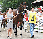 Big Trouble (no. 4), ridden by Irad Ortiz Jr. and trained by Anthony Dutrow, wins the the 100th running of the grade 3 Sanford Stakes for two year olds on July 19, 2014 at Saratoga Race Course in Saratoga Springs, New York.  (Bob Mayberger/Eclipse Sportswire)