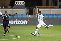 SAN JOSE, CA - SEPTEMBER 19: Diego Chara #21 of the Portland Timbers shoots the ball as Judson #93 of the San Jose Earthquakes attempts a block during a game between Portland Timbers and San Jose Earthquakes at Earthquakes Stadium on September 19, 2020 in San Jose, California.